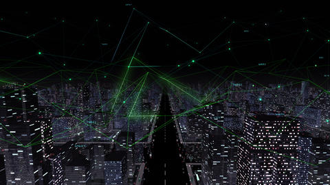 Digital City Network Building Technology Communication Data Business Background Night Fa0 Color Animation