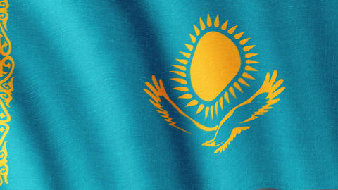 Kazakhstan. State flag of the country Animation