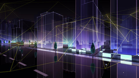 Digital City Network Building Technology Communication Data Business Background Night HaC0 Color Animation