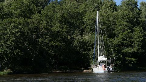 white sailing yacht moored Acción en vivo
