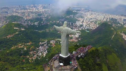 Rio De Janeiro Christ The Reedemer Aerial Hyperlapse Time Lapse, Brazil Acción en vivo