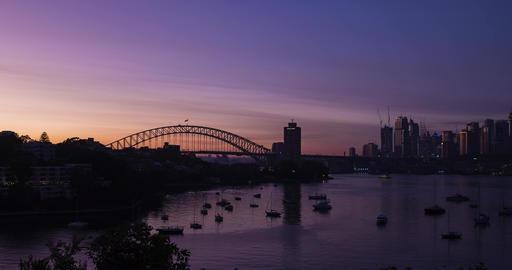 Timelapse of a sunrise over Sydney CBD and Harbour Bridge, Australia Acción en vivo