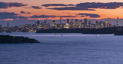 Timelapse of a sunset over Sydney Harbour Bay, Australia Acción en vivo