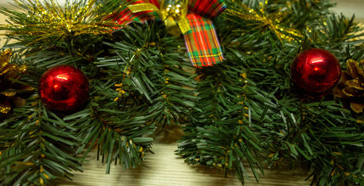 New Year and Christmas decoration wreath panorama view on white Photo