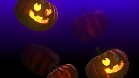 Falling 3D Halloween pumpkin - Purple background Videos animados