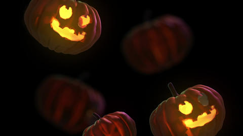Falling 3D Halloween pumpkin - black background Videos animados