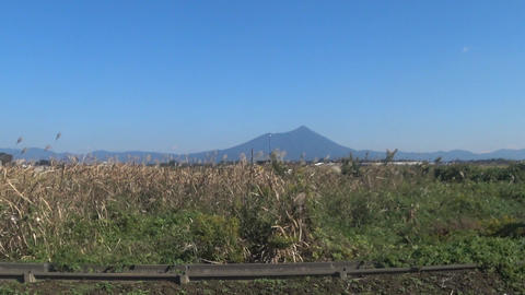 Countryside scenery where Mt. Tsukuba can be seen Footage