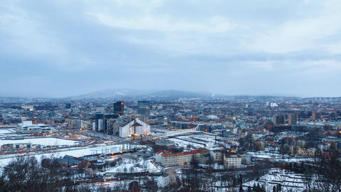 Dawn over the center of Oslo, Norway. Time Lapse Footage