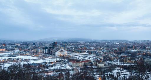 Panarama Oslo at dawn. Norway. Zoom. TimeLpase Footage