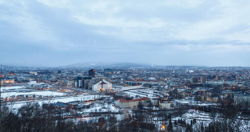 Panorama of the city, Dawn. Oslo, Norway. Zoom. Time Lpase Footage