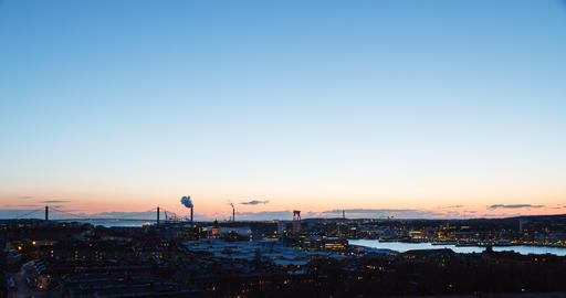 Panorama Gothenburg at sunset. Sweden. TimeLapse Footage