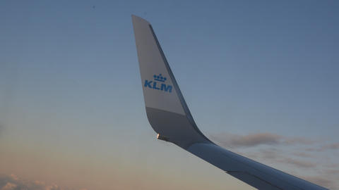 KLM Wing Above The Clouds At Manchester England 2019 Live Action