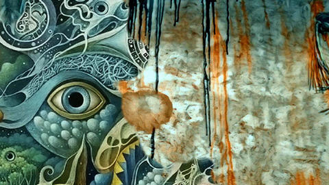 Complex surreal painting. Mystic eye Live Action