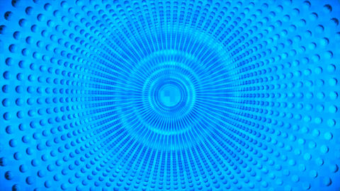Broadcast Pulsating Rotating Hi-Tech Spheres Tunnel, Blue, Industrial, 3D, Loopable, 4K Videos animados
