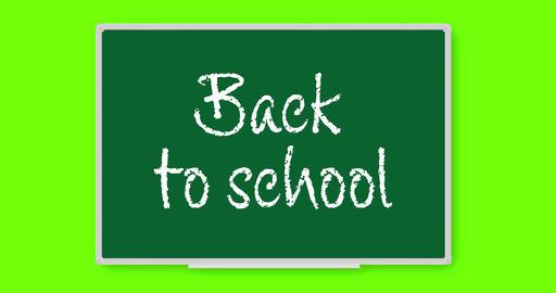 Back to School text written in chalk on chalkboard Animation