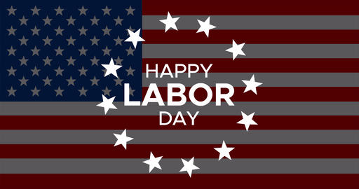 Happy Labor Day animated banner or greeting card with text, circle rotated stars Animation
