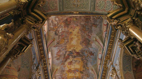 Bernardine church in lviv people religious fresco and gold statues Live Action