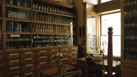 Old drugstore interior medicaments and scales history of medicine Live Action