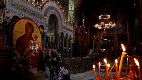 Orthodox church in front of celebratory divine service Live Action