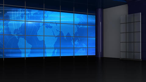 News TV Studio Set 246- Virtual Background Loop Footage