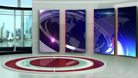 News TV Studio Set 247- Virtual Background Loop Footage