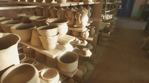 Pottery drying before firing Footage