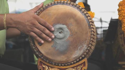 Musician performing dhol drum Footage