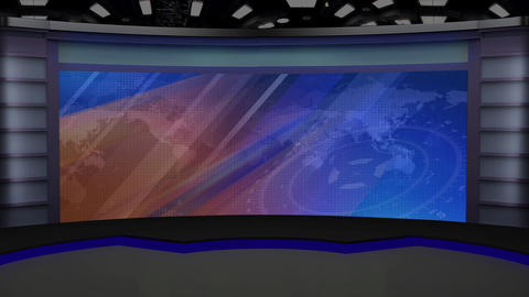 News TV Studio Set 226- Virtual Background Loop Footage
