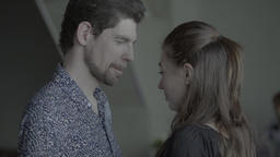 Girl and guy start a slow dance . Slow motion Footage