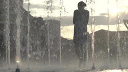 People in the fountain. Slow motion Footage