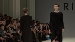 Fashion week. Fashion show. Models on the catwalk. Slow motion Footage
