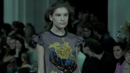 Fashion week. Model during the fashion show. . Slow motion Footage