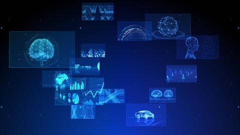 Digital Network Technology AI 5G data communication concepts background F Rotate2 B Blue Animation