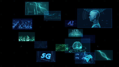 Digital Network Technology AI 5G data communication concepts background F Rotate2 B Color Animation