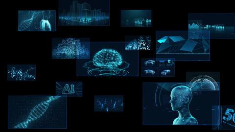 Digital Network Technology AI 5G data communication concepts background F Side A Sozai Animation