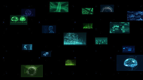 Digital Network Technology AI 5G data communication concepts background F Side B Color Animation