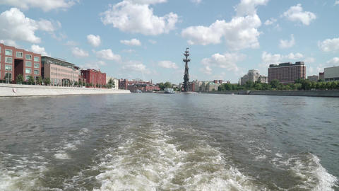 Foam trail behind a pleasure boat in the area of the Krymsky bridge Live Action