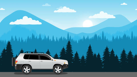 Car moving by mountain landscape animation Animation