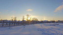 Panorama of a frozen pond. The solar halo. Nevyansk. Russia Footage