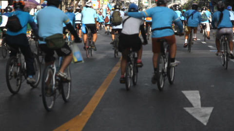 Group Of Cyclists On Street Footage