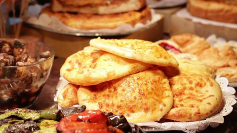 Fresh pancakes in storefront organic belyashi delicious fresh food Live Action