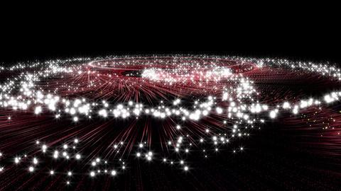 渦を巻いて上昇する赤い流れ星キラキラパーティクル CG動画