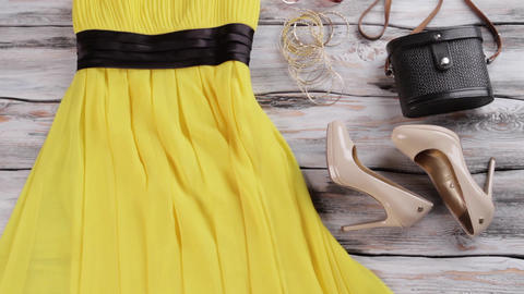 Yellow dress and heel shoes womans yellow garment with footwear selection Live Action