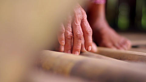 Hands of an old grandmother legs of an old woman Live Action