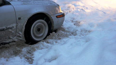 Car stuck in snow wheel of car is stuck in snow Live Action