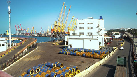 Cargo shipping and commercial terminal in seaport Live Action