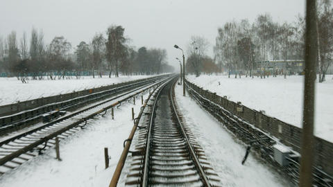 Railway in the winter high speed train goes in the winter season Live Action