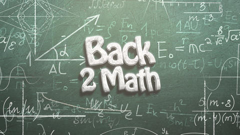 Animated closeup text Back to Math and closeup mathematical formula and elements on blackboard, Animation