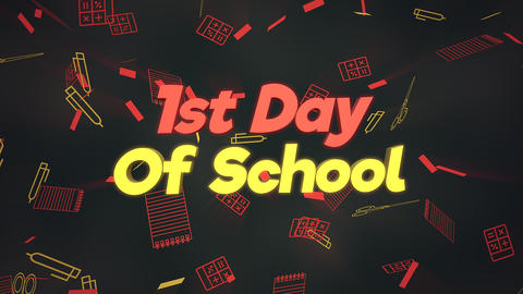 Animated closeup text 1st Day of School and closeup motion of school elements, education background Animation