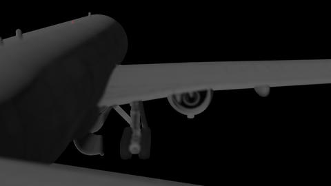 A flying 3D model of an airplane with working turbines, running lights and opening landing gear is Animation